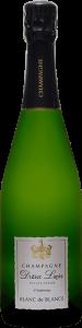 Bouteille de Champagne, étiquette blanche, texte : Champagne Didier Lapie, Viticulteur à Vaudemange, Blanc de blancs