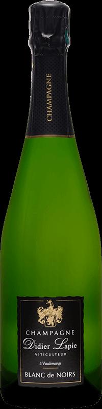 Bouteille de Champagne, étiquette noire, texte : Champagne Didier Lapie, Viticulteur à Vaudemange, Blanc de Noirs