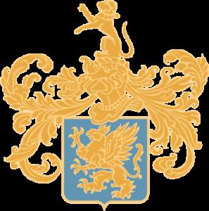 Blason Champagne Didier Lapie Lion doré sur fond bleu