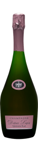 Bouteille de Champagne, étiquette rose, texte noir : Champagne Didier Lapie, Ephémère rosé