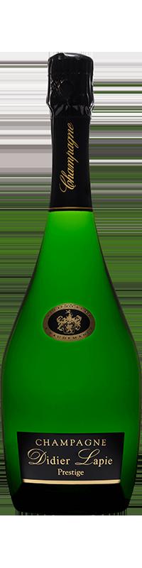 Bouteille de Champagne, étiquette noire, texte doré : Champagne Didier Lapie, Prestige