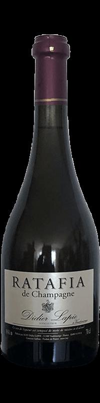 Bouteille de Champagne, étiquette argentée, texte : Ratafia de Champagne, Didier Lapie, Viticulteur à Vaudemange