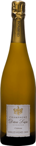 Bouteille de Champagne, étiquette blanche, texte : Champagne Didier Lapie, Viticulteur à Vaudemange. Vieilles vignes 2009