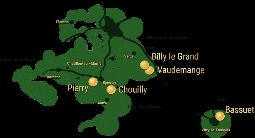 Carte de la Champagne indiquant les vignobles des Lapie. Textes : Vaudemange, Billy le Grand, Pierry, Chouilly, Bassuet